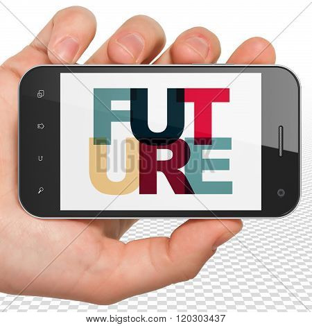 Time concept: Hand Holding Smartphone with Future on  display