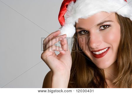 Woman Wearing Santa Hat