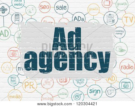 Marketing concept: Ad Agency on wall background