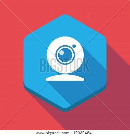 Long Shadow Hexagon Icon With A Web Cam