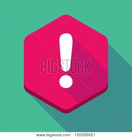 Long Shadow Hexagon Icon With An Admiration Sign