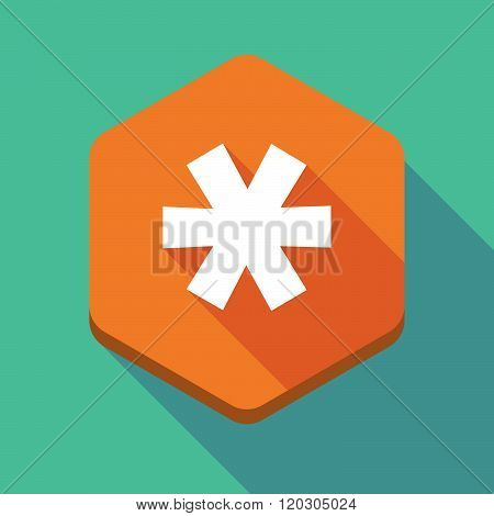 Long Shadow Hexagon Icon With An Asterisk
