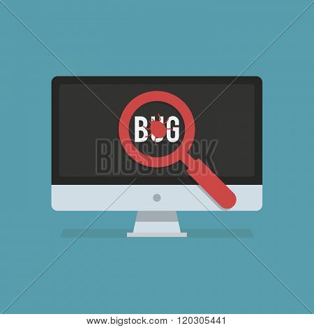 Software testing flat icon. Software testing vector illustration. The software testing found a bug