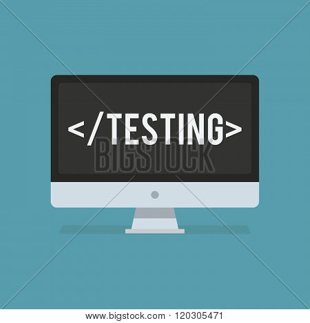 Software testing flat icon. Software testing vector illustration. Being software tested