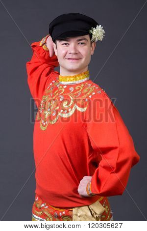 Attractive Russian Guy Dancing In Folk Costume