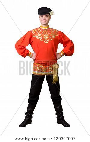 Attractive Caucasian Guy Wearing A Russian Folk Costume