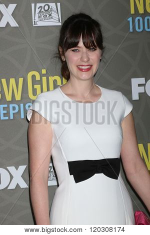 LOS ANGELES - MAR 3:  Zooey Deschanel at the New Girl 100th Episode Party at the W Westwood on March 3, 2016 in Westwood, CA