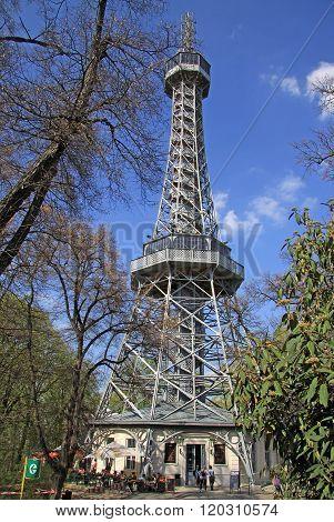 Prague, Czech Republic - April 24, 2013: Petrin Lookout Tower (petrinska Rozhledna) In Prague, Czech
