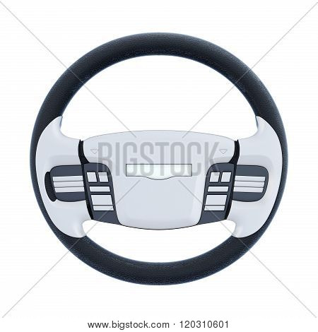 Car steering wheel isolated on white background. 3d rendering