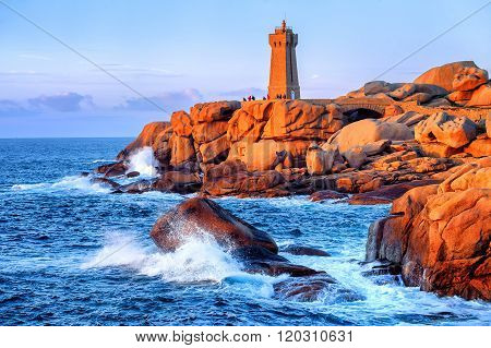 Lighthouse Of Ploumanach  On Cote De Granite Rose, Brittany, France