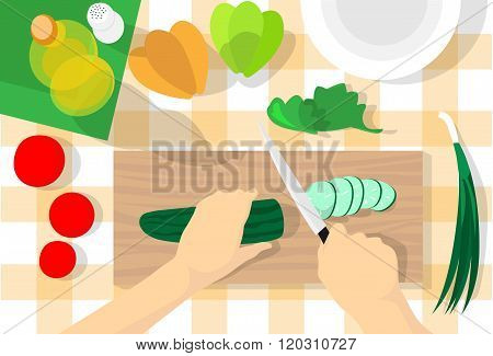 Cooking Process Table Kitchen Chopping Cucumber Vegetables Healthy Food Top Angle View