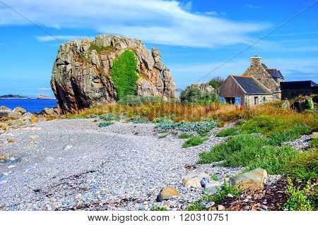 House And A Rock On Atlantic Beach, Brittany, France