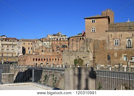 Rome, Italy - December 21, 2012: The Trajan's Forum (foro Di Traiano) In Rome, Italy.