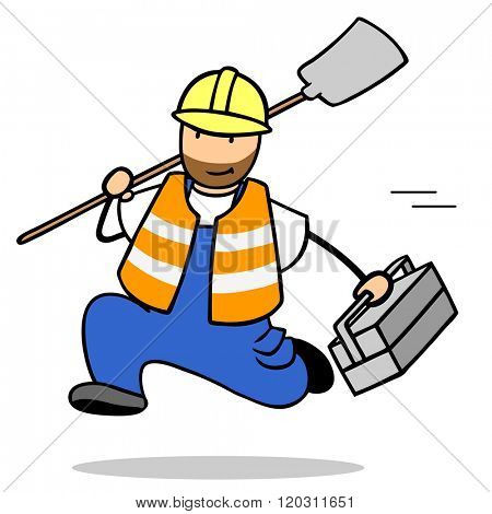 Fast cartoon construction worker running with a shovel