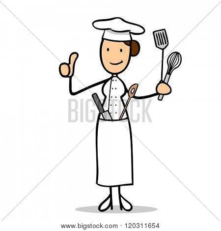 Smiling female cartoon chef cook holding up her thumbs