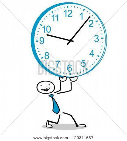 Cartoon business man holding up a big watch
