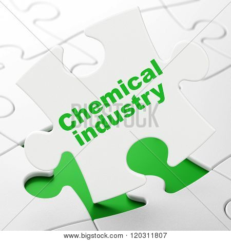 Manufacuring concept: Chemical Industry on puzzle background