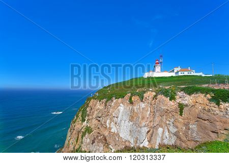 Beacon on Cabo da Roca - the most western point of Europe