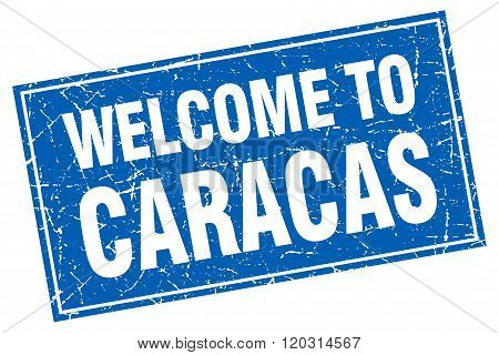 Caracas Blue Square Grunge Welcome To Stamp