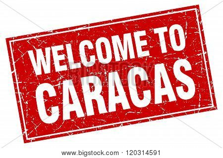 Caracas Red Square Grunge Welcome To Stamp