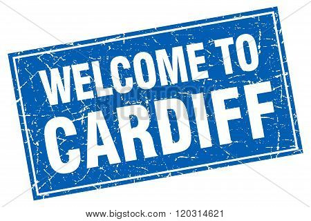 Cardiff Blue Square Grunge Welcome To Stamp