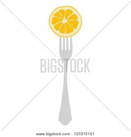 Orange On Fork