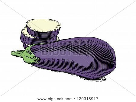 Raw Whole And Sliced Eggplant