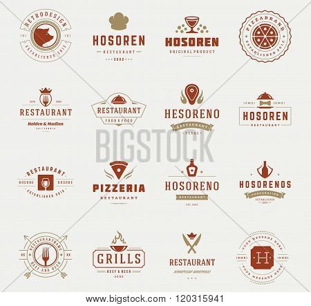 Vintage Restaurant Logos Design Templates Set. Vector design elements