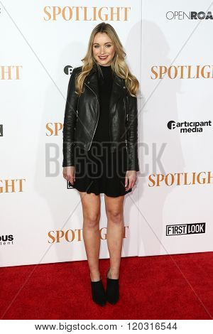 NEW YORK-OCT 27: Actress Katrina Bowden attends the 'Spotlight' New York premiere at Ziegfeld Theatre on October 27, 2015 in New York City.