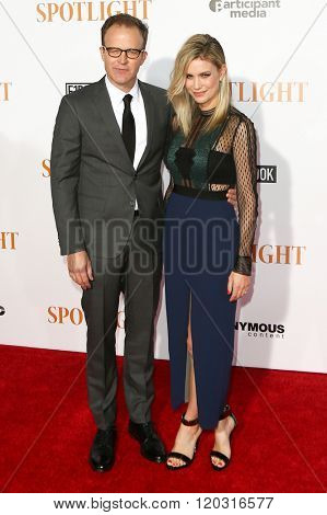 NEW YORK-OCT 27: Director/actor Thomas McCarthy (L) and Wendy Merry McCarthy attend the 'Spotlight' New York premiere at Ziegfeld Theatre on October 27, 2015 in New York City.