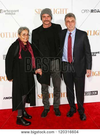 NEW YORK-OCT 27: (L-R) Heather Schreiber, Liev Schreiber and Walter V. Robinson attend the 'Spotlight' New York premiere at Ziegfeld Theatre on October 27, 2015 in New York City.