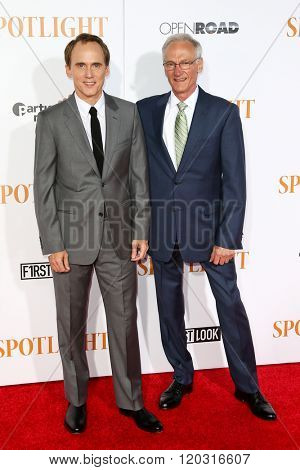 NEW YORK-OCT 27: Actor Neal Huff (L) and Phil Saviano attend the 'Spotlight' New York premiere at Ziegfeld Theatre on October 27, 2015 in New York City.