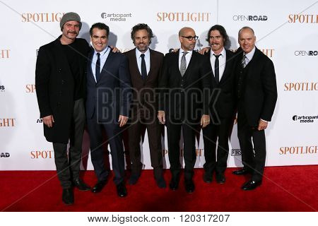 NEW YORK-OCT 27:(L-R) Liev Schreiber, Brian d'Arcy James, Mark Ruffalo, Stanley Tucci, Billy Crudup & Michael Keaton at 'Spotlight' premiere at Ziegfeld Theatre on October 27, 2015 in New York City.
