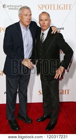 NEW YORK-OCT 27: Walter Robinson (L) and actor Michael Keaton attend the 'Spotlight' New York premiere at Ziegfeld Theatre on October 27, 2015 in New York City.