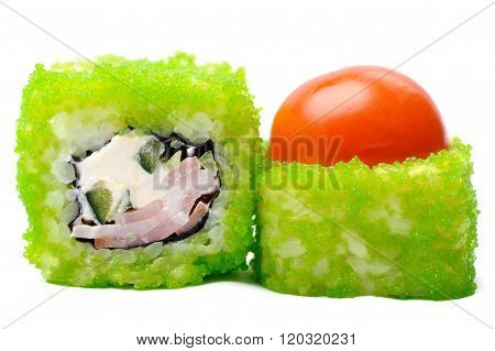 Tasty Japanese Fantasy Rolls With Cherry Tomato, Cucumber And Green Caviar Isolated