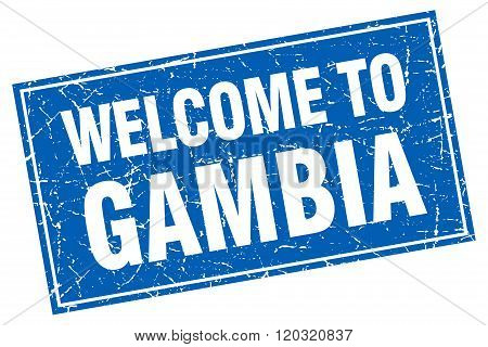 Gambia Blue Square Grunge Welcome To Stamp