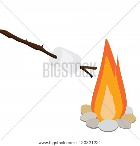 Marshmallow On Wooden Stick