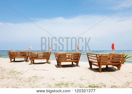 Seaview from huts cottages sunbeds and chairs