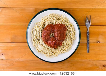 Spaghetti Pasta Served With A Savory Tomato Sauce