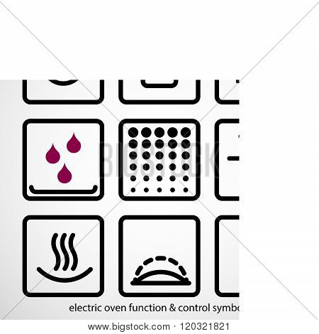 Electric oven function & control symbols