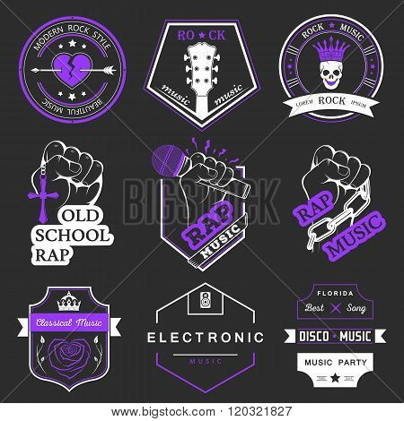Set of vector badges and logos of rock music and rap classical music electronic music and disco. The collection of symbols and emblems for printing T-shirts festivals and parties.