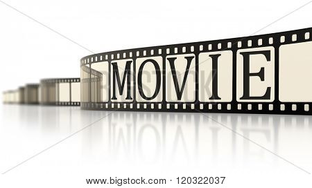 An image of a vintage film strip with the word movie