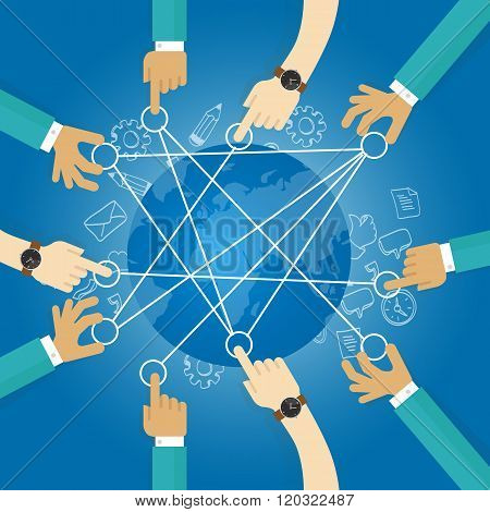 connecting world building transportation network globe collaboration team work interconnection