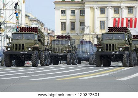 A convoy of rocket launchers of volley fire BM-21-1
