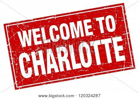 Charlotte Red Square Grunge Welcome To Stamp
