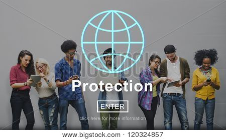 Protection Policy Privacy Safety Homepage Concept