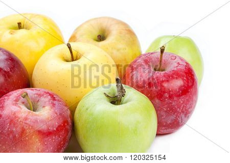 Multi colored apples  different varieties. White background. macro view