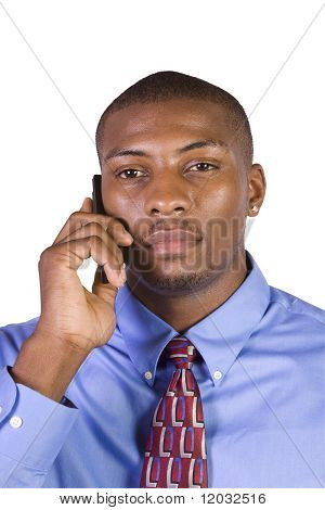 Black Businessman Talking On A Cell Phone