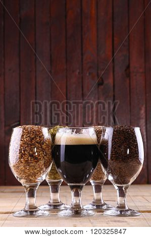 Dark Beer And Ingredients