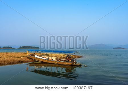 Wooden Boat On Kaeng Krachan Lake